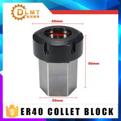 1 sztuk Hex ER40 ER25 ER32 Collet blok 80mm tuleja zaciskowa blok uchwyt do tokarki grawerowanie