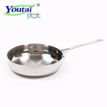 Youtai 24cm/2.8L stainless steel five-ply non-stick no lampblack non-coating cookware with glass coversteak frying pan with lid