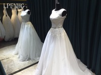 White Wedding Dresses 2018 Scoop Sleeveless Button Sweep Train Chiffon And Lace With Applique A Line