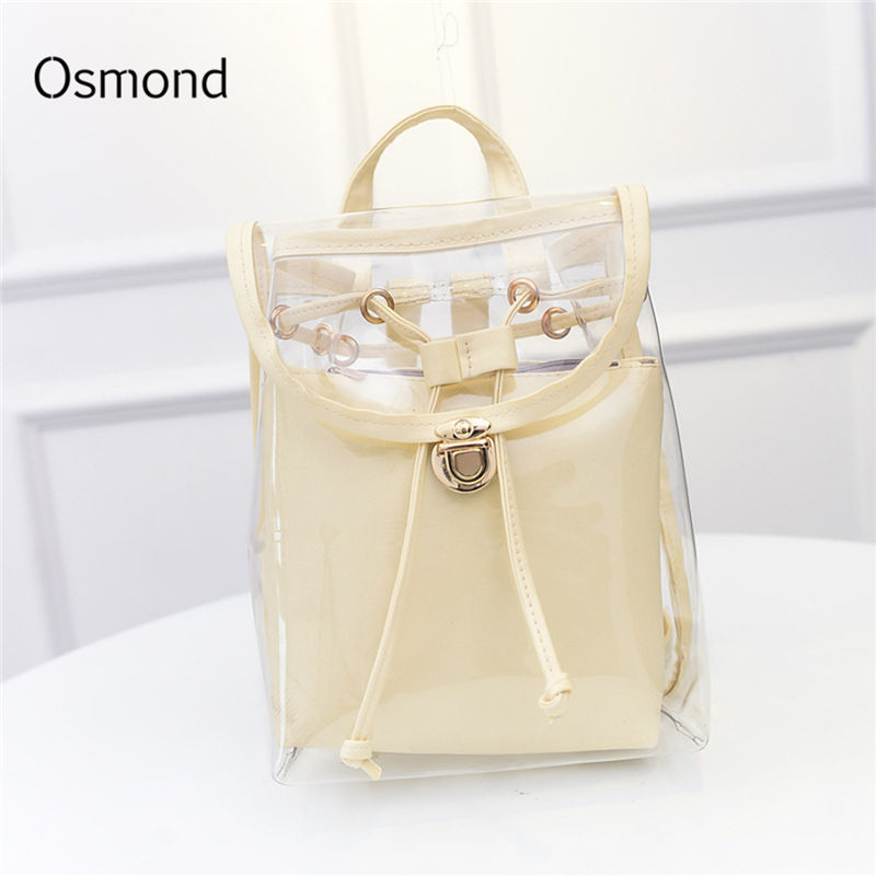 Osmond Women Transparent Backpacks Female Clear Back Pack Preppy School Bags For Teenage Girls Rucksack Mochila White Black 2PCSOsmond Women Transparent Backpacks Female Clear Back Pack Preppy School Bags For Teenage Girls Rucksack Mochila White Black 2PCS