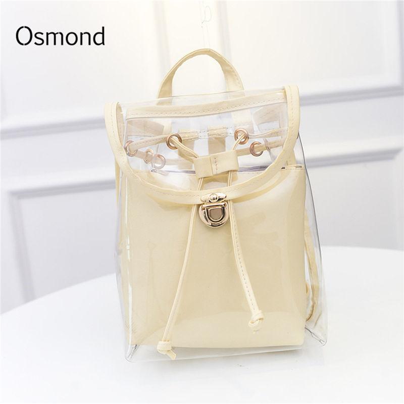 Osmond Women Transparent Backpacks Female Clear Back Pack Preppy School Bags For Teenage Girls Rucksack Mochila White Black 2PCS