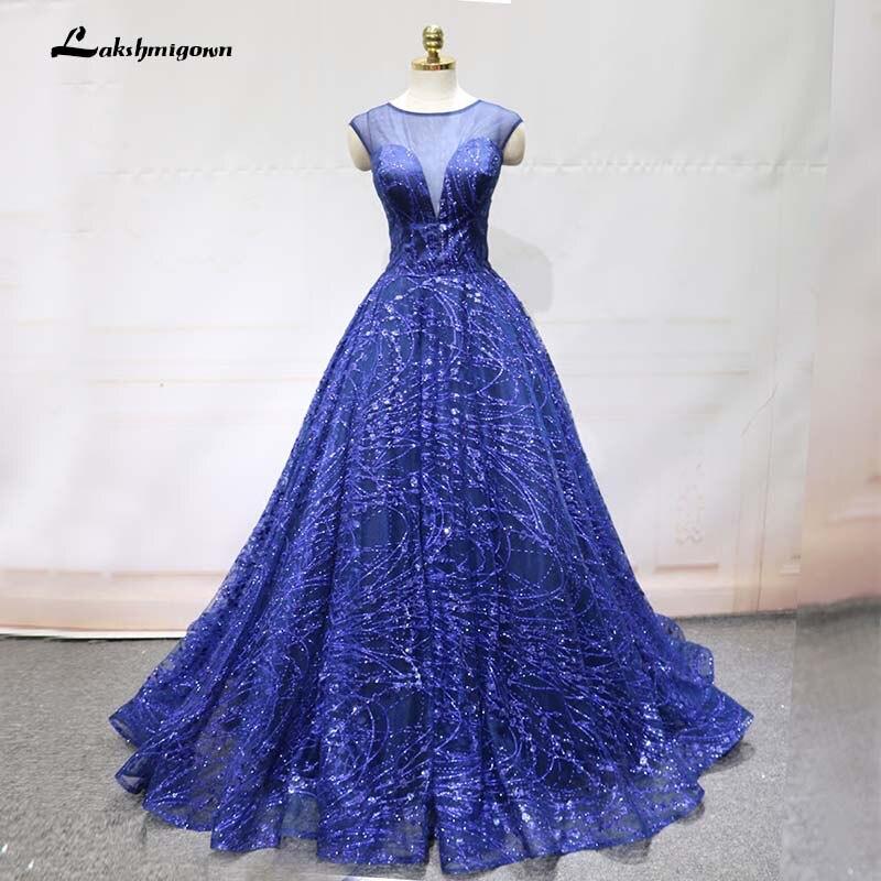 Royal Blue Evening Dress 2018 Ball Gown Cap Sleeve Sequined Women ...