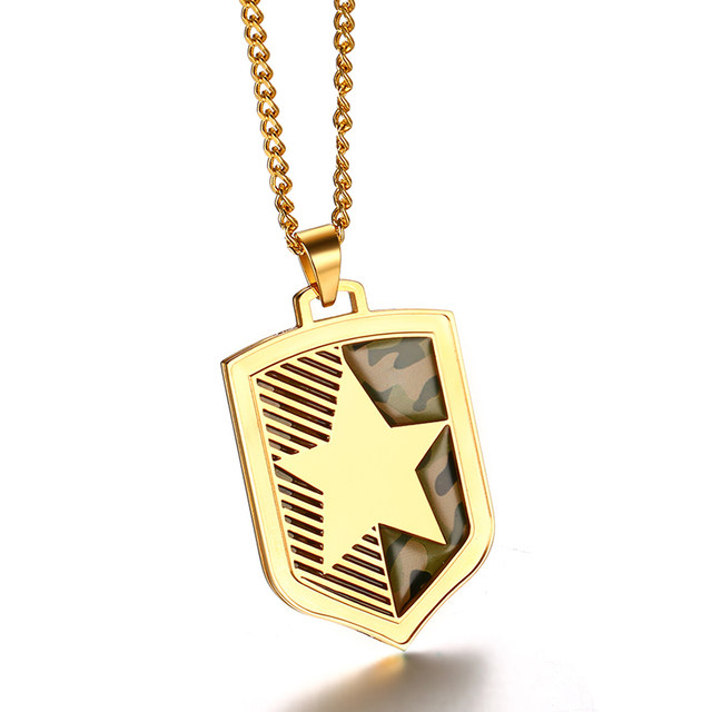 Online shop vnox gold color five pointed star mens necklace vnox gold color five pointed star mens necklace camouflage necklaces pendants punk shield necklace for men jewelry aloadofball Choice Image