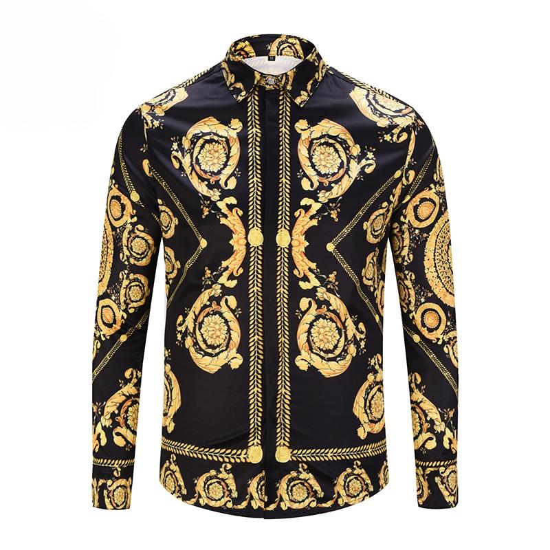 PLstar Cosmos Luxury Men's Shirts Fashion Brand Designer Man Fancy Shirts Mens Casual Slim Floral Shirts Long Sleeve Clothes