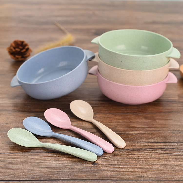 Natural Wheat Stalk Bowl with Spoon Kid Adult Made Eco-Friendly Travel Dinnerware Kitchen Bowl Spoon Set 4 Color Hot Sale