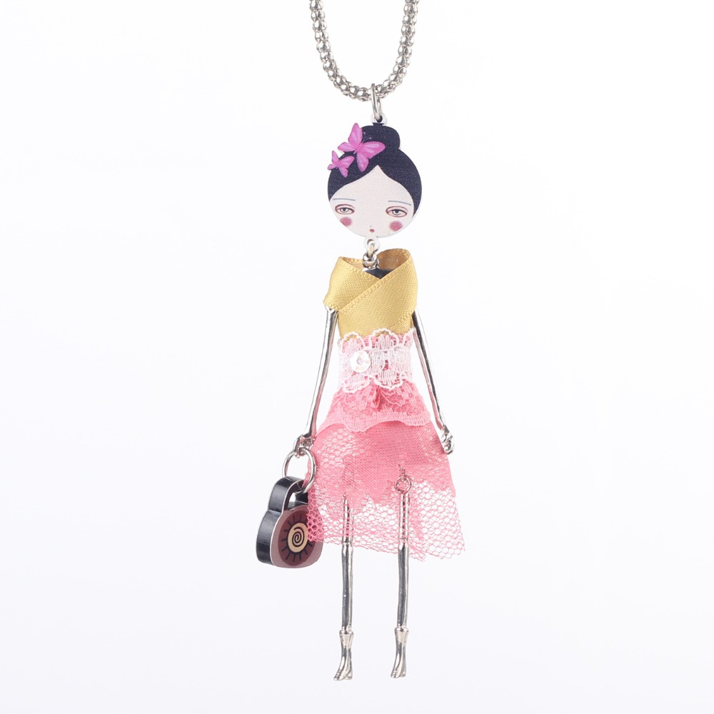 Bonsny人形ネックレスドレス手作りパリ人形ペンダントネックレストレンディ2016ニュース合金女の子女性花