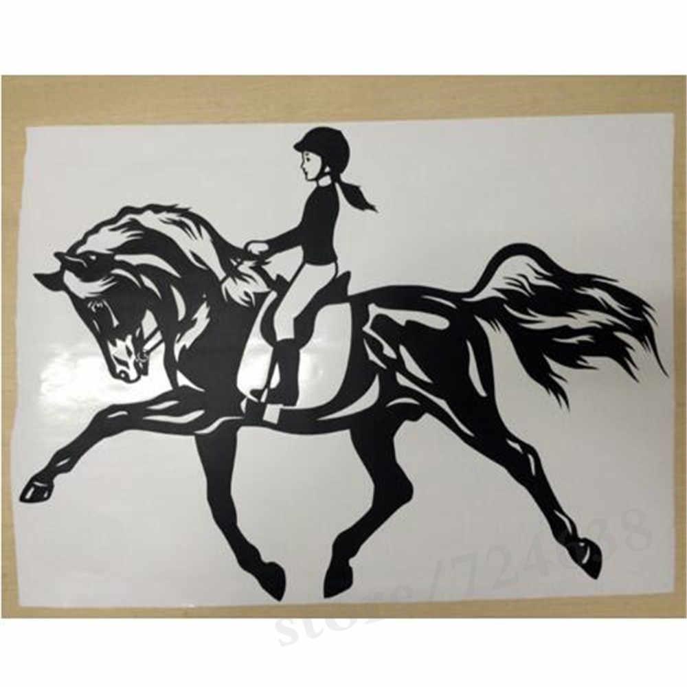 Kadın At Spor duvar sanatı yapışkanı Binicilik Vinil Çıkartma Kalıp Kesim Pencere Kapı Odası Şablon Duvar Ev Dekor
