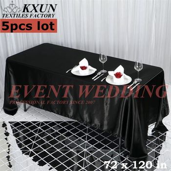 5PCS Seamless Satin Table Cloth Wedding Tablecloth Event Party Decoration