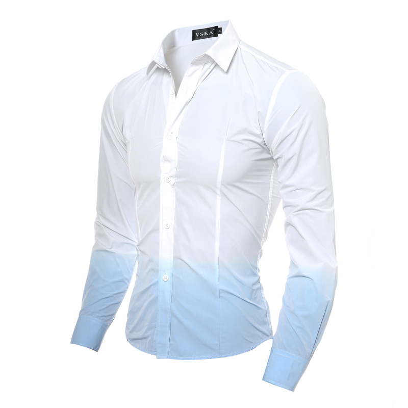Brand 2017 Men'S Fashion Shirt Chemise Homme 3D Tie-Dye Gradient Chemise Homme Men Shirt Leisure Camisa Masculina 2XL NADKHG