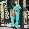 XXL! Новая Мода Марка Комбинезон Женщины Комбинезон 2017 Весна Лето Дамы V-образным Вырезом С Коротким Рукавом Твердые Элегантный Синий Пант Bodysuits