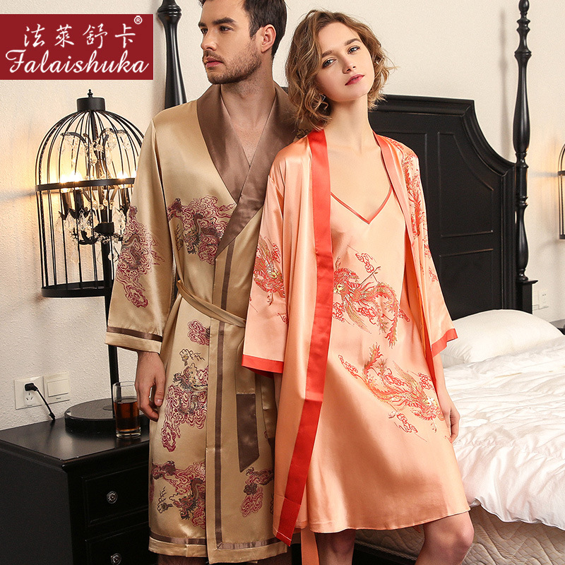 22 momme 100% genuine silk pyjama couple Robe men Noble dress+robe sexy Gown sets women elegance silky pure mulberry silk robes