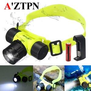 Водонепроницаемый светодиодный налобный фонарь для дайвинга и плавания, подводный налобный фонарь, рыболовная лампа, светодиодный фонарик...