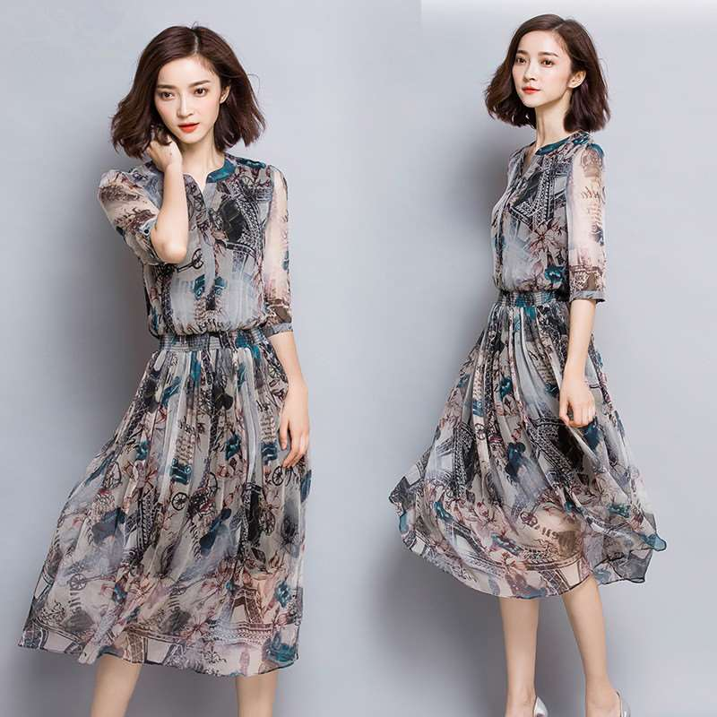 2019 Sleeve v neck summer special clearance processing 100 silk silk dress women long section of
