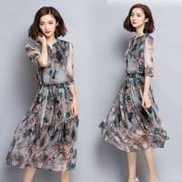 2018 Sleeve v neck summer special clearance processing 100% silk silk dress women long section of loose