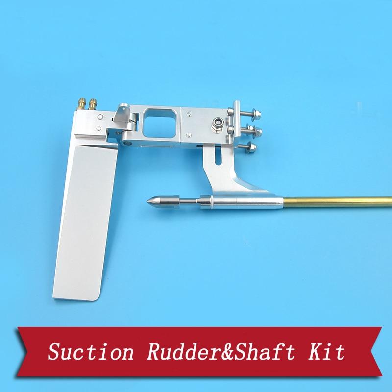 RC Boat Parts 4mm Flex Strut Shaft+110mm Aluminum Steering Suction Rudder+Brass Bushing+Drive Dog+Propeller Nut Assembly Kit