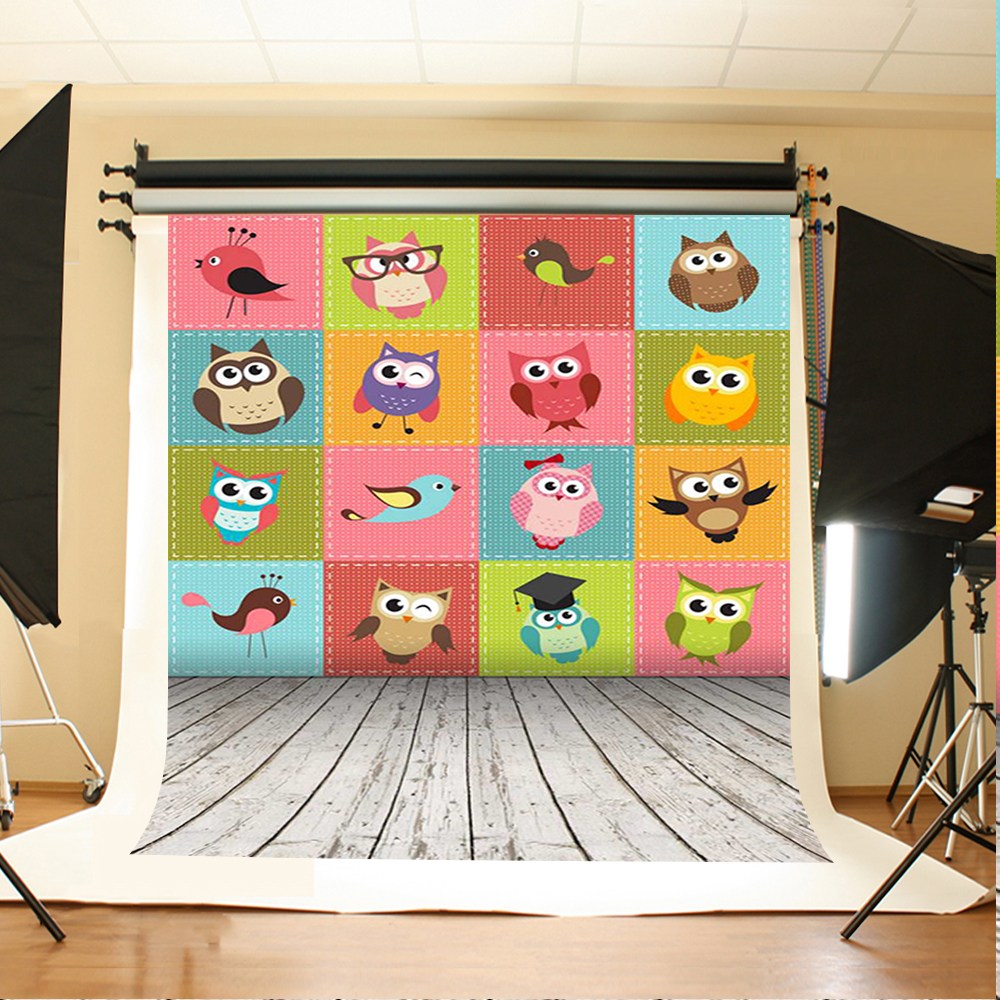 Wedding Photography Background Cartoon Animal Wall Birthday Photo Backdrops Beige Wood Floor Background for Photographic Studio