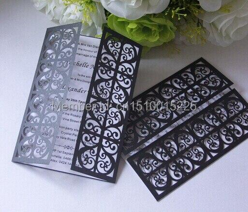 56 63 50 Negro Laser Cut Envío Gratis Diseño Puerta Tarjeta De Invitación De Boda Para Imprimir Y Personalizada In Tarjetas E Invitaciones From