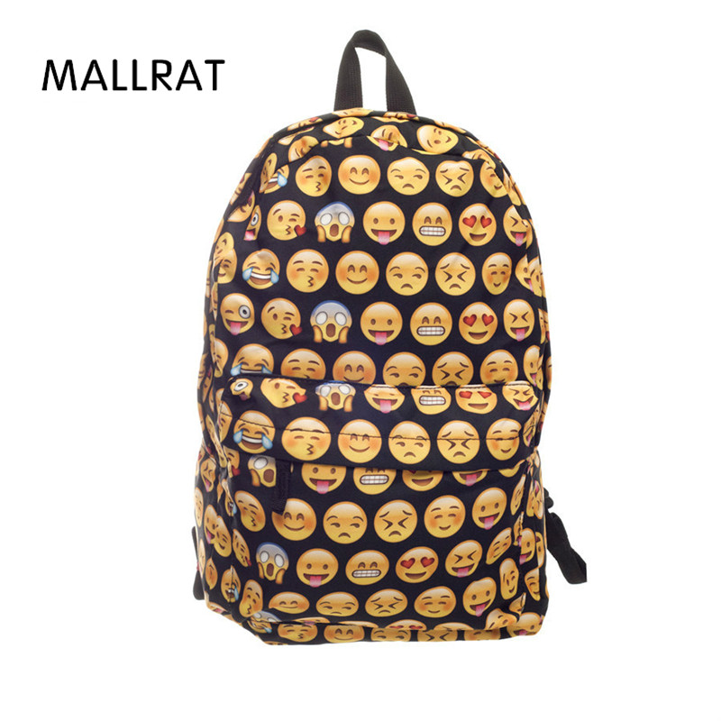 MALLRAT 2017 High Quality Emoji 3D Printing Women Canvas Backpacks Smiley School Bag For Teenagers Girls Shoulder Bag Mochila emoji black 3d printing 2017 high quality women canvas backpacks smiley school bag for teenagers girls shoulder bag mochila
