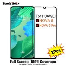 """2 CHIẾC Nắp Đầy Tấm Bảo Vệ Màn Hình Kính Cường Lực Cho Huawei Nova 5 Pro 6.39 """"9 H Bảo Vệ kính Cho nova 5 BIỂN LX1 AL10 Phim"""