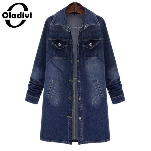 Oladivi 2016 Autumn Long Sleeve Jean Denim Trench Coat for Women Ripped Pockets Windbreaker Female Long Outerwear Plus Size Tops