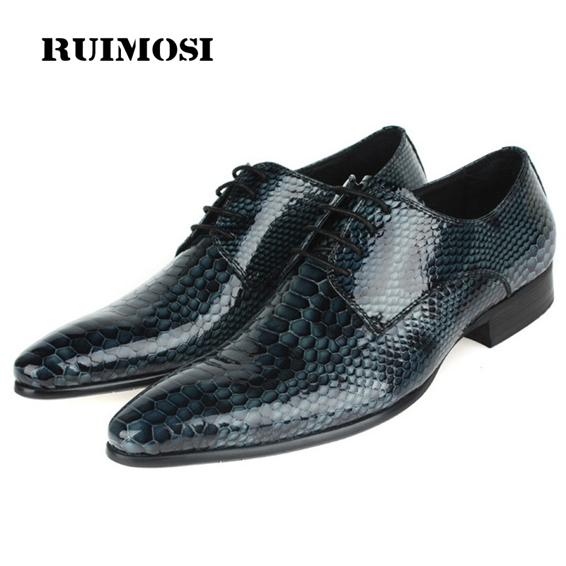 RUIMOSI Crocodile Handmade Man Formal Dress Shoes Patent Leather Male Pointed Toe Oxfords Derby Men's Wedding Bridal Flats FD88