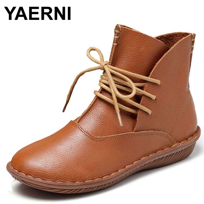 YAERNI 2017 Full Grain Leather Fashion Boots Women Shoes Lace Up Handsewn F06