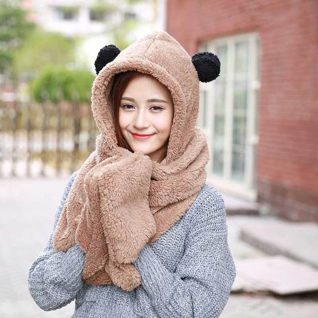 Children and parents parent and child warm plush men and women children hat  scarf gloves three sets of one new thick scarf be1c926dcbb