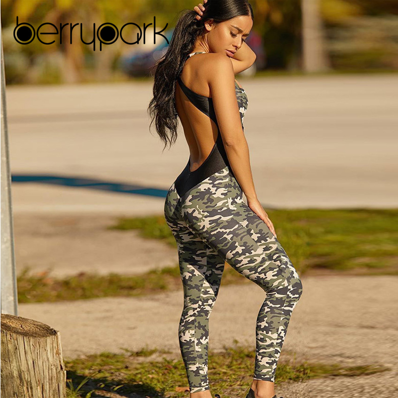 BerryPark 2019 NEW Women Cross Backless Camouflage Yoga Set Patchwork Stretchy Fitness Jumpsuit Gym Wear Sport