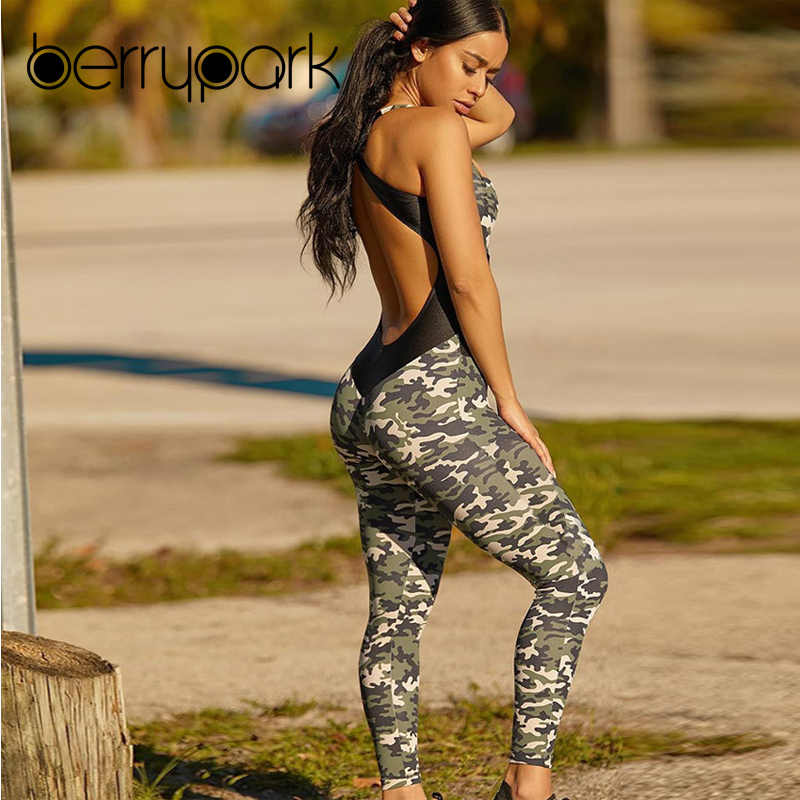 abd0f6cb8f52 BerryPark 2019 NEW Women Cross Backless Camouflage Yoga Set Patchwork  Stretchy Fitness Jumpsuit Gym Wear Sport