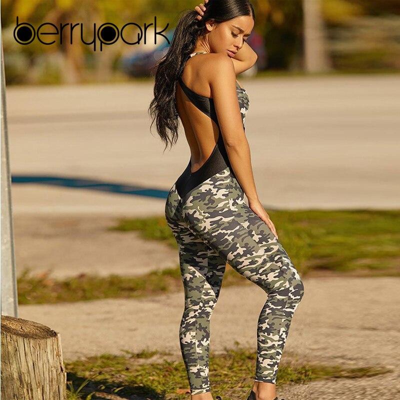 BerryPark 2019 nuevo Camo mujer Sexy Cruz espalda descubierta Yoga conjunto camuflaje Patchwork malla elástica mono gimnasio ropa deportiva traje deportivo