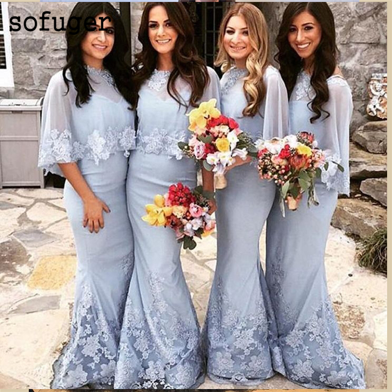 Attractive Light Blue Scoop Sheath Appliques Special Occasion   Bridesmaid     Dresses   Formal Vestidos Wedding Party   Dresses
