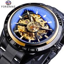 Forsining 2019 Unique Mens Mechanical Watch Automatic Black Steampunk Sport Watches Full Steel Band Wristwatch Relogio Masculino