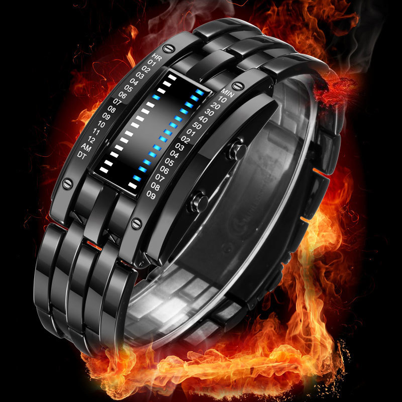 BOAMIGO Creative Watch Men Digital LED Watch Electronic Stainless Steel Band Wristwatch Mens Watches Top Brand Luxury Gift Clock in Digital Watches from Watches
