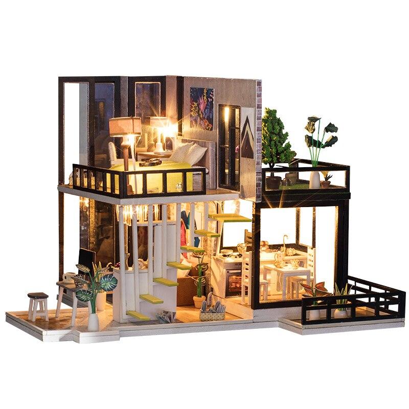 Bricolage maison de poupée en bois maison de poupée avec meubles lumières couverture de poussière jouets en bois pour enfants cadeau d'anniversaire voyage à la mer d'agean