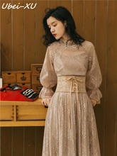 Ubei 2019 Spring new vintage French court style flared sleeve dress female high waist show thin lace long quality