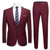 Business Casual Jacket Dress Up Men's Newlyweds New Solid Color Suit 2 Piece Men's Dress