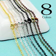 20 pcs - 8 Colors Cable Chain Necklace, 18/24/30 Inch Flat Oval Link Chain, Rolo -Gold/Silver/Bronze/Copper/Gunmetal/black