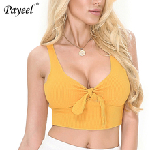 New Summer Crop Tops Sexy top V-Neck Vest Front DIY Tie Bow Tank Top  Cropped Tops Sleeveless Women Clothes 2019 Tanks Female