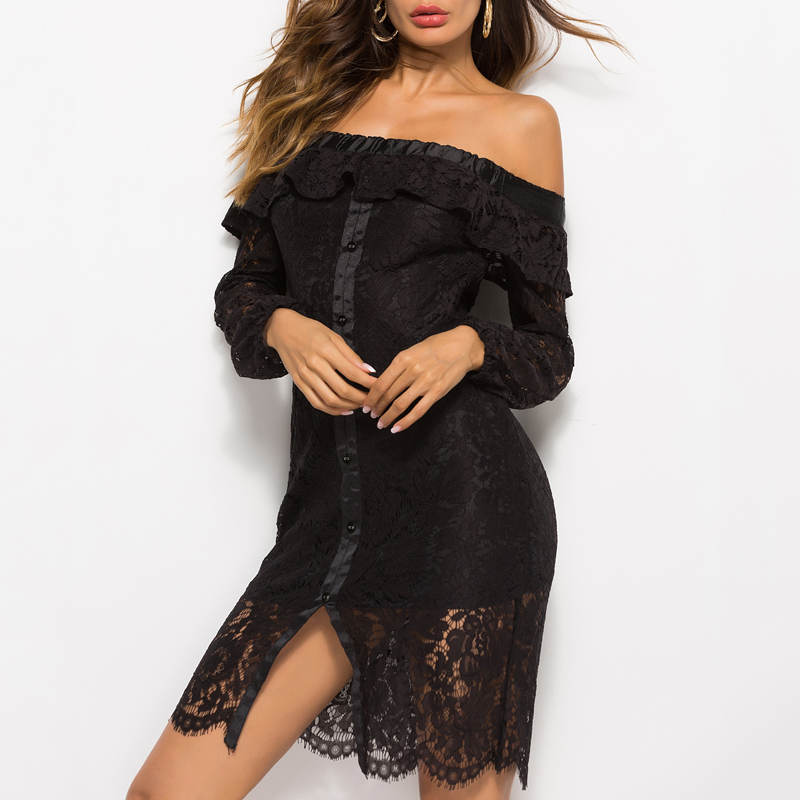 Summer women off shoulder sexy lace dress ladies casual elegant beach ruffles long sleeve hollow out short black white dress in Dresses from Women 39 s Clothing