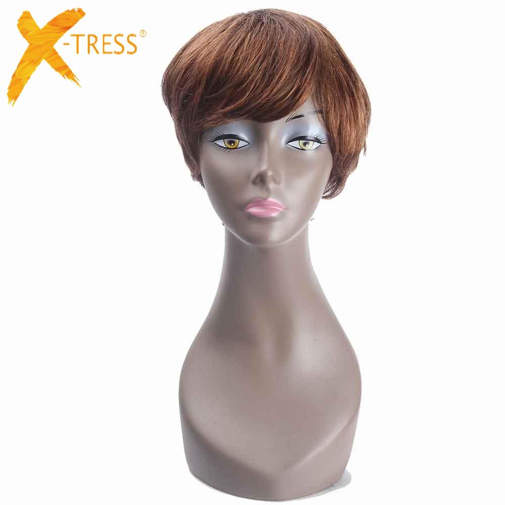 Short Bob Human Hair Wigs With Bang Side Part X Tress