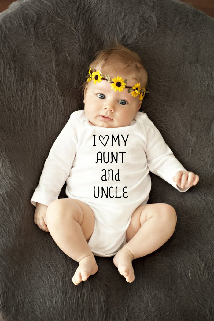 Autumn Body Baby Bodysuits 100% Cotton I Love My Aunt And Uncle Newborn Baby ClothingWhite Kids Jumpsuits Baby Boy Girl Cloth
