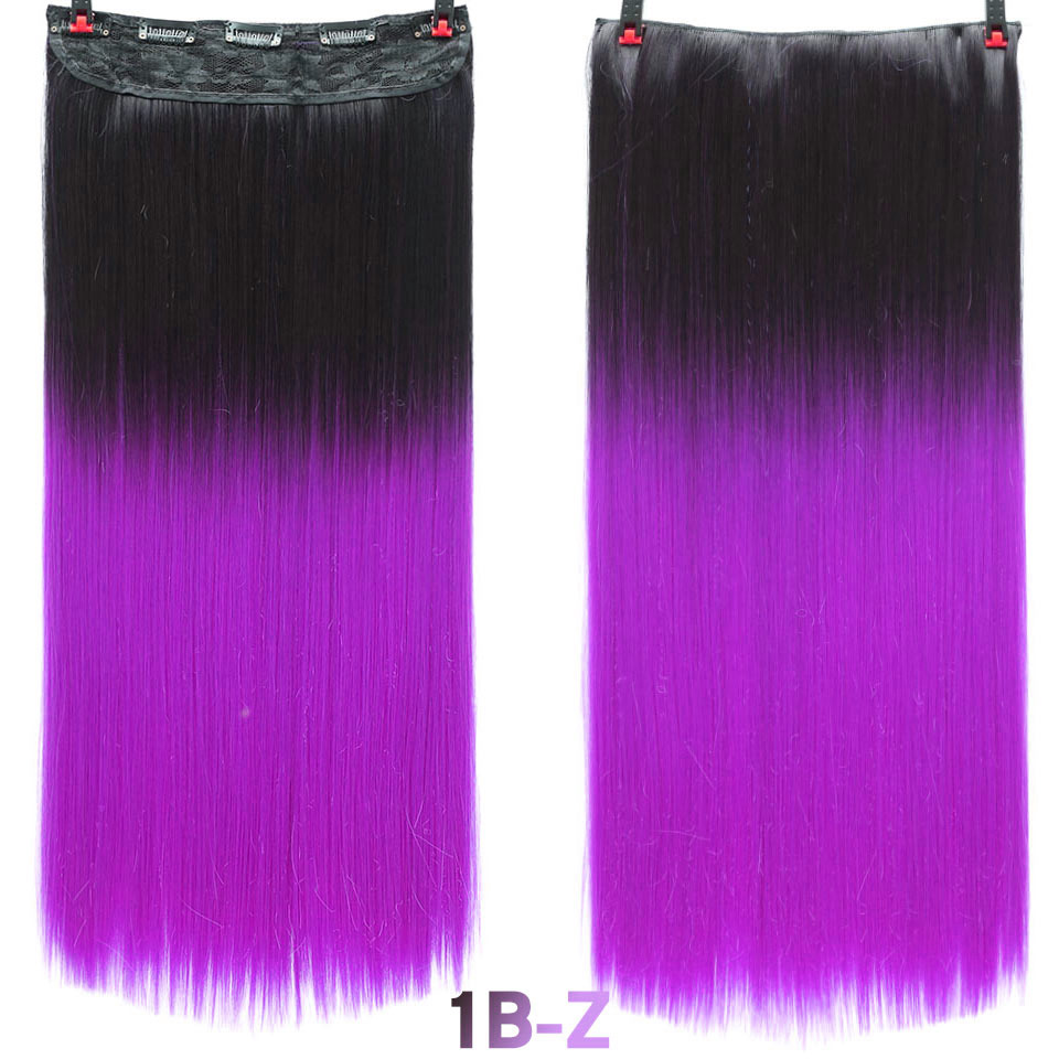 SHANGKE волосы 24 ''длинные прямые женские волосы на заколках для наращивания черный коричневый высокая температура Синтетические волосы кусок - Цвет: 1B/Blue