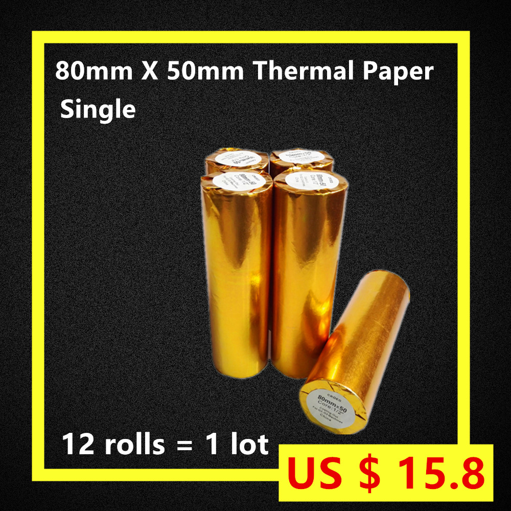 80 50 12Rolls/lot Thermal Printer Cash Register Paper POS Free Shipping Single Natural pure wood Environmental friendly