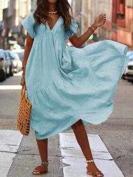 WEPBEL Women Dress V Neck Irregular Solid Color Short Sleeve Summer Casual Beach Loose Plus Size Long Ladies Dresses 5