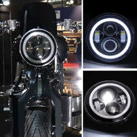 1PCS X Harley H4 H13 Adaptor Harness 7 Motorcycle Projector Daymaker LED Headlight With Angel Light