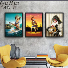 Rock Musik Cowboy Surfen Wenig Corgi Leinwand Wand Bild Rooster Gitarrist Tier Rave Party Bar Poster Dekorative Malerei(China)