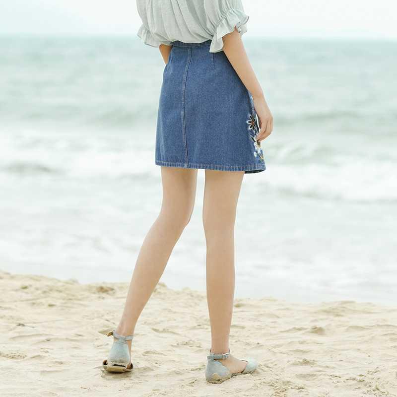 INMAN letnie dżinsy niebieskie pasuje do wszystkiego krótka spódniczka z haftem