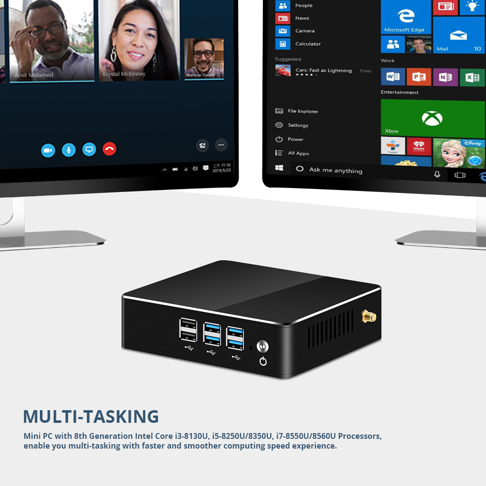 Image 3 - HLY Mini PC DDR4 RAM Intel Core i7 8550U i5 8250U i3 8130U Windows 10 4K UHD HTPC Wifi USB Mini Computer Desktop Gaming PC-in Mini PC from Computer & Office