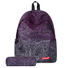 Frauen rucksack leinwand baumblatt blumen printing schultaschen für teenager mädchen nette schul kinder reisetasche mit etui set