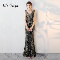 It's Yiiya 2018 V Neck Evening Dresses Fashion Mermaid Lady Style Bling Sequined Floor Length Eleagnt Formal Dress LX327